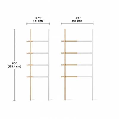 Extendable ladder, made of oak and white metal - HUB