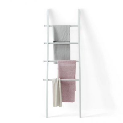 Ladder with solid wood pillars and metal bars, white - LEANA