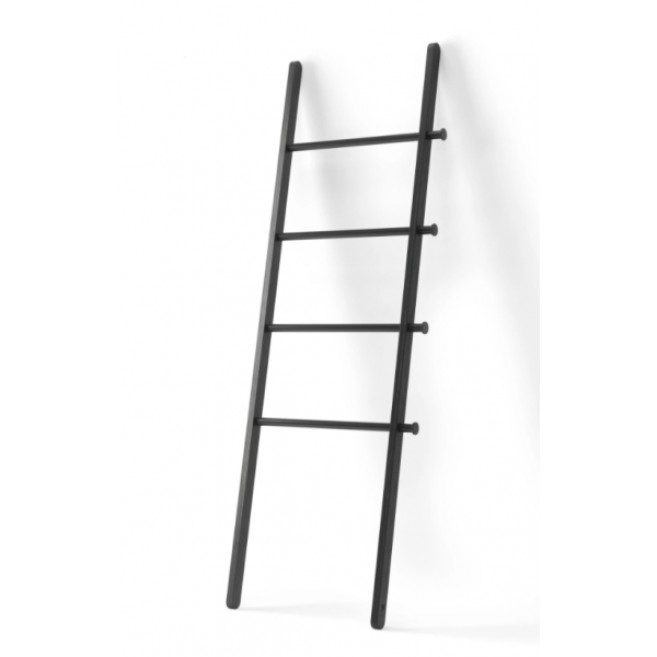 Ladder with solid wood pillars and metal bars, black - LEANA