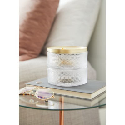 Jewelry box, made of glass, with two levels and gold metal lid - TESORA