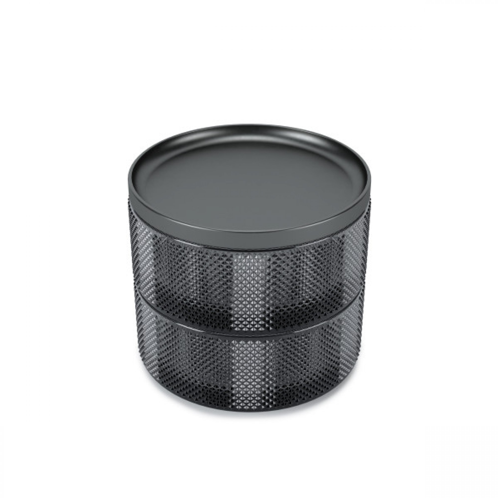 Jewelry box, made of fume glass, with two levels and metal lid - TESORA