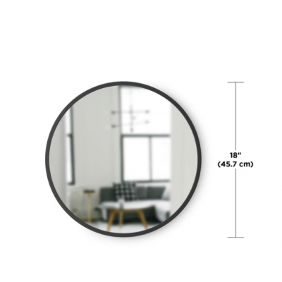 Round mirror with black rubber frame - HUB