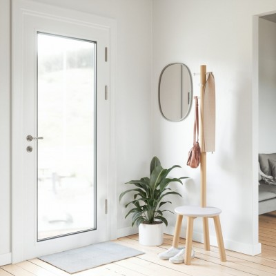 Hanger with chair, white color and oak support - PILLAR