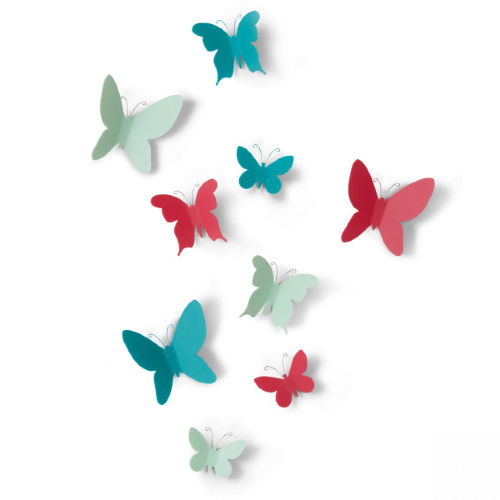 Multicolored wall decoration, set of 9 butterflies - MARIPOSA