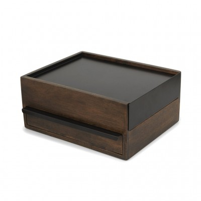 Jewelry box, made of walnut, with metal lid and linen interior - STOWIT