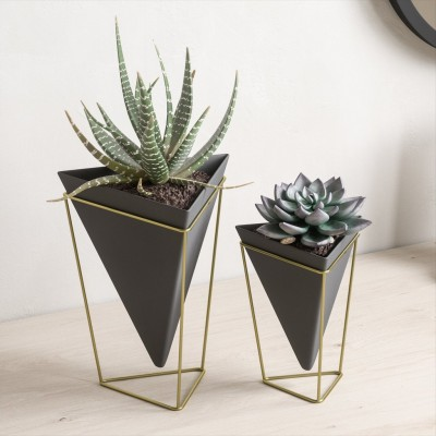 Set of 2 supports for various accessories, made of black ceramic, with gold metal support - TRIGG