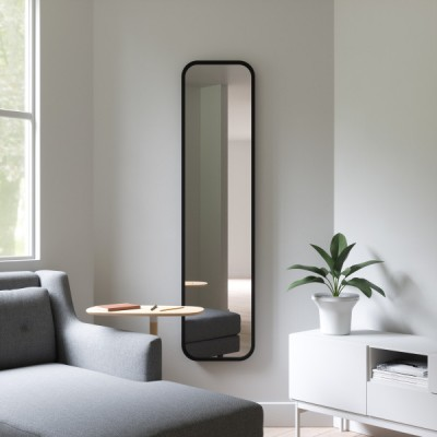 Rectangular mirror with black rubber frame - HUB LEANING
