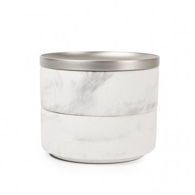 Jewelry box, white, with two levels and nickel metal lid - TESORA