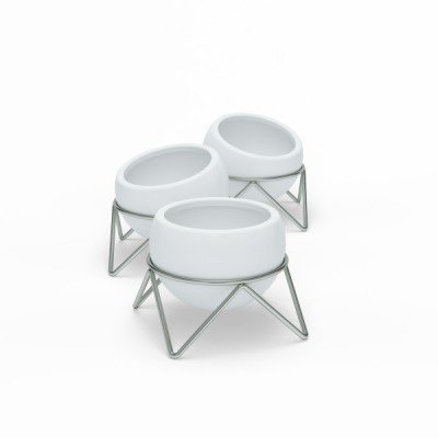 Set of 3 white ceramic pots with nickel metal support - POTSY