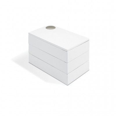 Jewelry box, with white, glossy finish and lined interior - SPINDLE