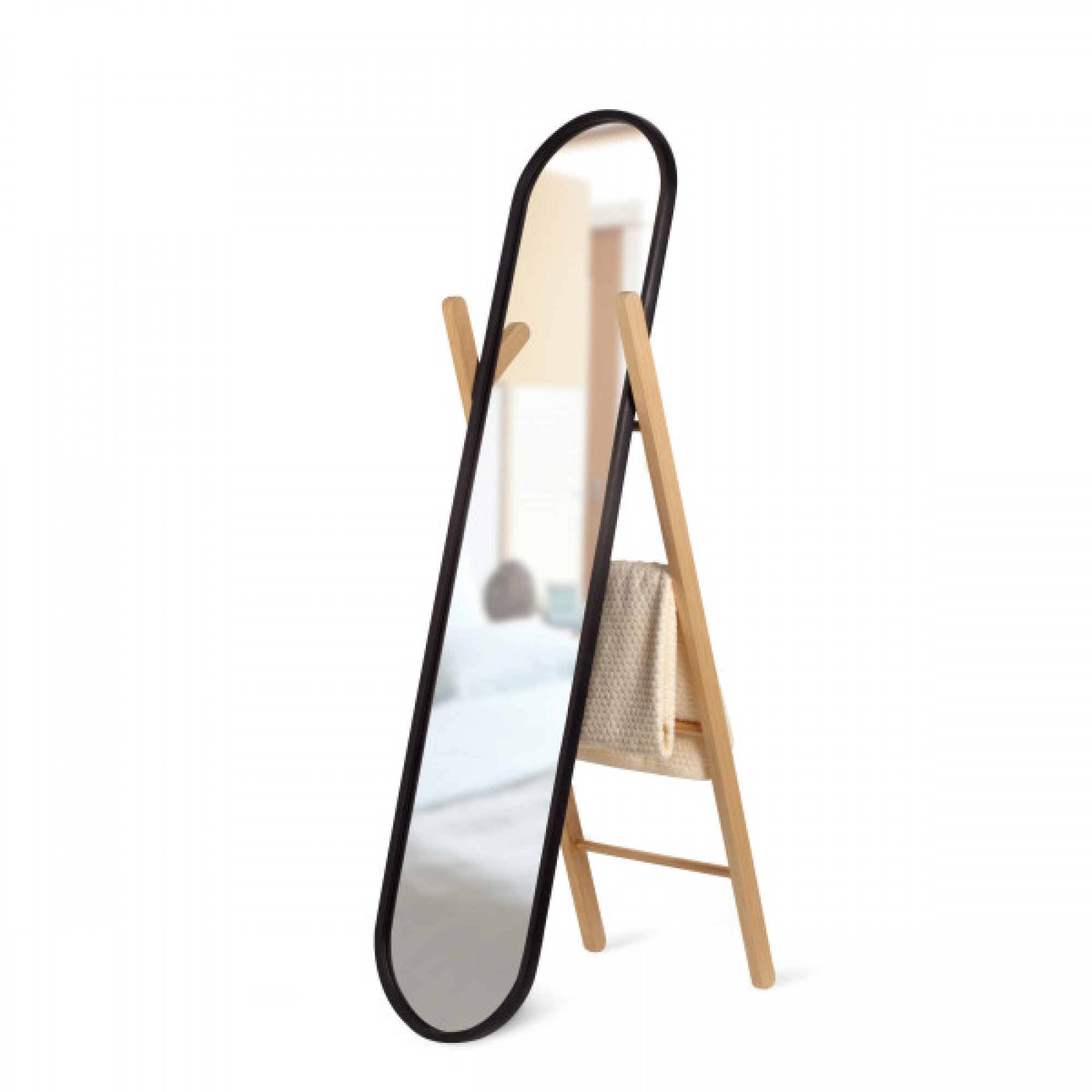 Floor mirror with black rubber frame and oak - HUB