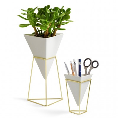 Set of 2 supports for various accessories, made of white ceramic, with gold metal support - TRIGG