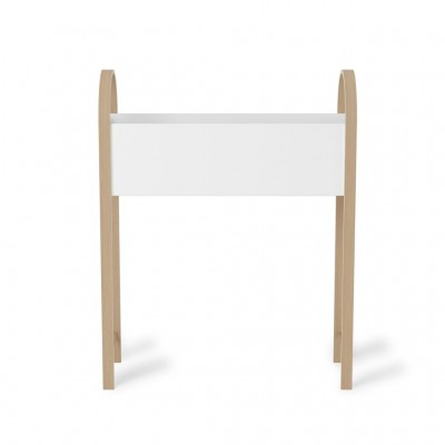 White planter with oak support - BELLWOOD